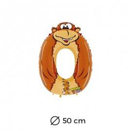 Globo Gorila Numero 0 Foil 50 cm