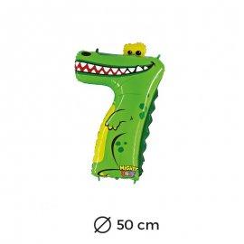 Ballon Crocodile Numéro 7 en Mylar 50cm