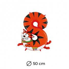 Ballon Tigre Numéro 8 en Mylar 50cm