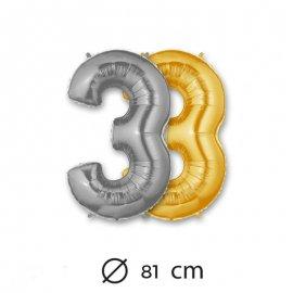 Ballon Numéro 3 en Mylar 81cm