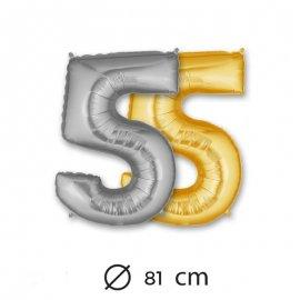 Ballon Numéro 5 en Mylar 81cm