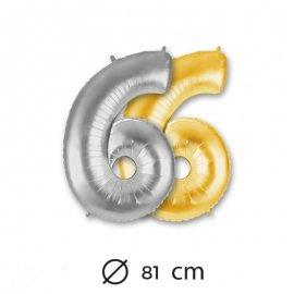 Ballon Numéro 6 en Mylar 81cm