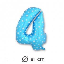 Ballon Mylar Chiffre 4 Bleu de 81cm avec Étoiles