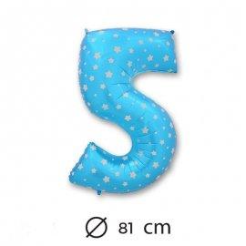 Ballon Mylar Chiffre 5 Bleu de 81cm avec Étoiles