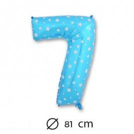 Ballon Mylar Chiffre 7 Bleu de 81cm avec Étoiles