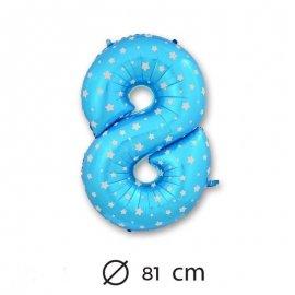 Ballon Mylar Chiffre 8 Bleu de 81cm avec Étoiles