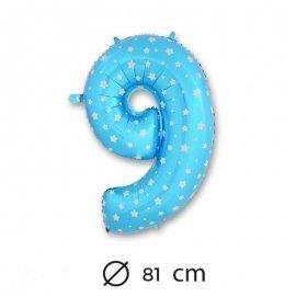 Ballon Mylar Chiffre 9 Bleu de 81cm avec Étoiles