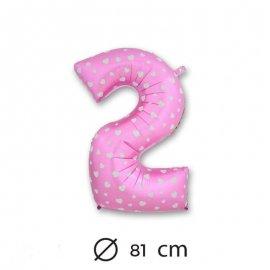 Ballon Mylar Chiffre 2 Rose de 81cm avec Coeurs