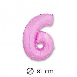 Ballon Mylar Chiffre 6 Rose de 81cm avec Coeurs