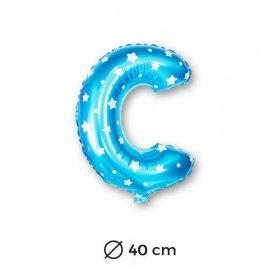 Ballon Mylar Lettre C Bleu de 40cm avec Etoiles