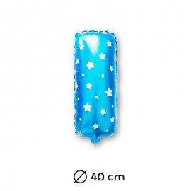 Ballon Mylar Lettre I Bleu de 40cm avec Etoiles