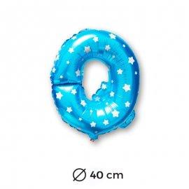Ballon Mylar Lettre Q Bleu de 40cm avec Etoiles
