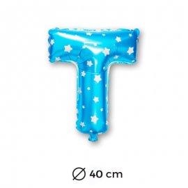 Ballon Mylar Lettre T Bleu de 40cm avec Etoiles