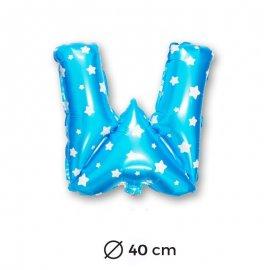 Ballon Mylar Lettre W Bleu de 40cm avec Etoiles