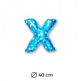 Ballon Mylar Lettre X Bleu de 40cm avec Etoiles