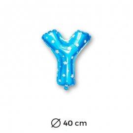 Ballon Mylar Lettre Y Bleu de 40cm avec Etoiles