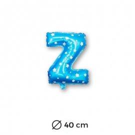 Ballon Mylar Lettre Z Bleu de 40cm avec Etoiles