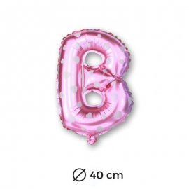 Ballon Mylar Lettre B Rose de 40cm avec Coeurs