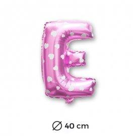Ballon Mylar Lettre E Rose de 40cm avec Coeurs