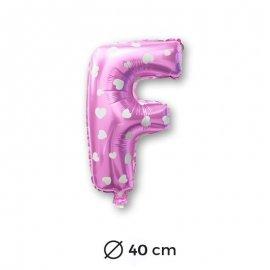Ballon Mylar Lettre F Rose de 40cm avec Coeurs
