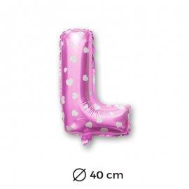 Ballon Mylar Lettre L Rose de 40cm avec Coeurs