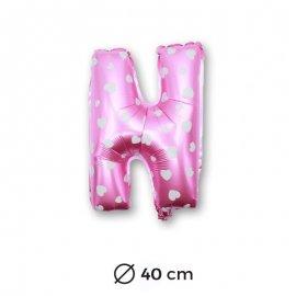 Ballon Mylar Lettre N Rose de 40cm avec Coeurs