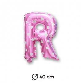 Ballon Mylar Lettre R Rose de 40cm avec Coeurs