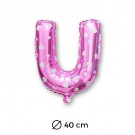 Ballon Mylar Lettre U Rose de 40cm avec Coeur