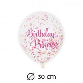 6 Ballons avec Confettis Princesse 30 cm
