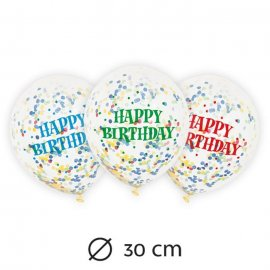 6 Ballons avec Confettis Happy Birthday