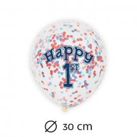 6 Ballons avec Confettis 1 An Garçon
