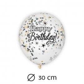 6 Ballons avec Confettis Happy Birthday Élégant