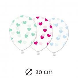 6 Ballons Transparents avec Coeurs 30 cm