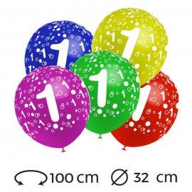 Ballons Chiffre 1 Ronds 32 cm