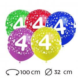 Ballons Chiffre 4 Ronds 32 cm