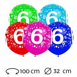 Ballons Chiffre 6 Ronds 32 cm