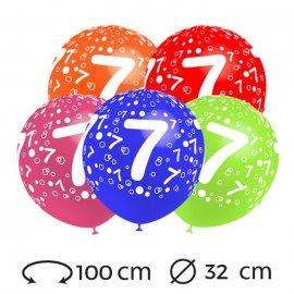 Ballons Chiffre 7 Ronds 32 cm