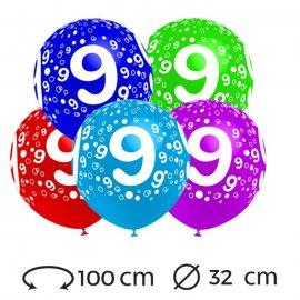 Ballons Chiffre 9 Ronds 32 cm