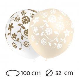 Ballons Mariage Fleurs Ronds 32 cm