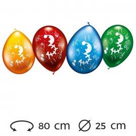 Ballons Numéro 3 Ronds M02 25 cm