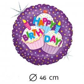 Ballons Aluminium Happy Gâteau 46 cm