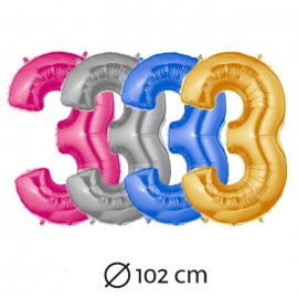 Ballon du Chiffre 3 Mylar 102 cm