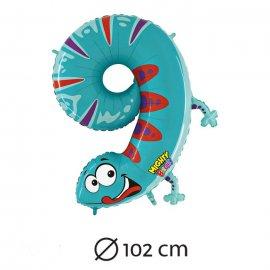 Ballon en Chiffre 9 Salamandre Mylar 102 cm