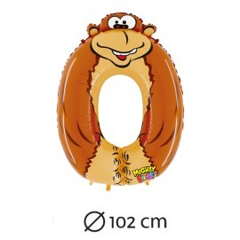 Ballon de Chiffre 0 Gorille Mylar 102 cm