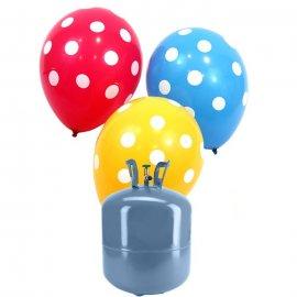 Bonbonne Helium Petite avec 30 ballons à Pois