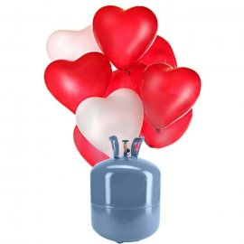 Bonbonne Helium Petite avec 30 ballons Coeur