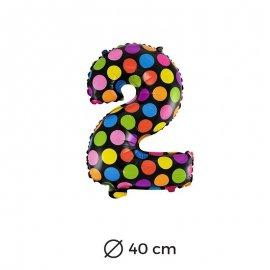 Ballon Numéro 2 à pois 40cm