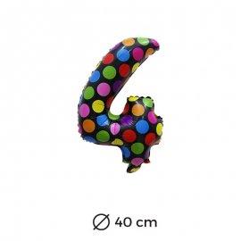 Ballon Numéro 4 à pois 40cm