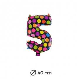 Ballon Numéro 5 à pois 40cm