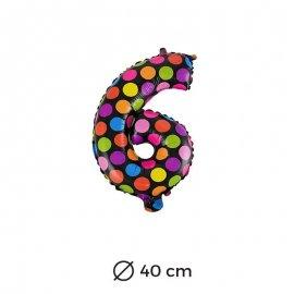 Ballon Numéro 6 à pois 40cm
